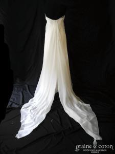 Nathalie Durieux - Création en organza de soie ivoire (bustier)