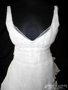 Nathalie Durieux - Création en gaze de soie ivoire plissée (bretelles empire dos nu V)