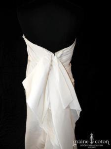 Lanvin collection Blanche - Robe bustier droite en taffetas de soie ivoire drapé