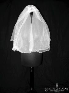 Voile court en tulle blanc orné de strass