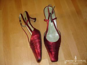 P.Verdi - Escarpins (chaussures) en cuir rouge nacré