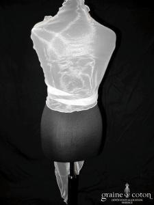 Grace & Kate - Étole biseautée en organza ivoire clair