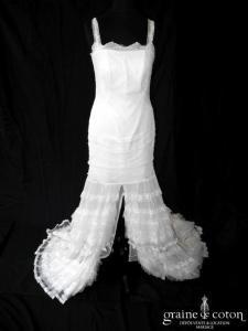 Yolan Cris - Création fendue devant en tulle de soie et dentelle ivoire (courte et longue bretelles bohème fluide dos boutonné)