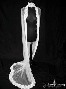 Yolan Cris - Voile long de 2 mètres en tulle fluide ivoire avec bandeau de dentelle