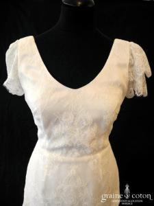Stéphanie Allin pour Nuit Blanche - Robe fluide en dentelle ivoire clair (manches bretelles dos nu V bohème)