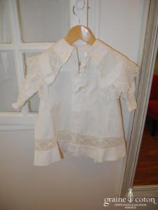 Manteau petite fille vintage en coton et dentelle ivoire