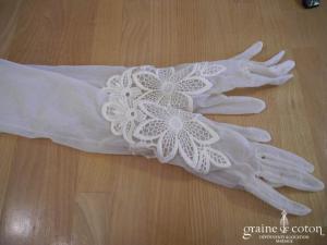 Lolita Lempicka - Gants mi longs en tulle et dentelle ivoire