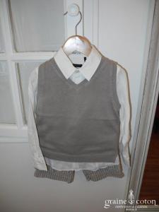 IKKS - Ensemble garçon bermuda, chemise et pull sans manche