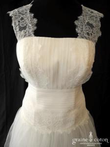 Création - Robe en tulle et dentelle ivoire clair (laçage plissé bretelles organza bohème)