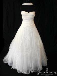 Le Spose di Gio pour Nuit Blanche - Simone (coeur taille basse organza de soie drapé manches bretelles fluide cache coeur dos boutonné)