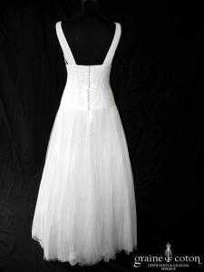 Delphine Manivet - Gabriel (tulle de soie drapé fluide bretelles empire taille basse décolleté V dos boutonné blanche)
