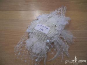 Peigne à cheveux fleur ivoire