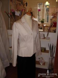123 - Veste en coton crème (non stocké en boutique, essayage sur demande)