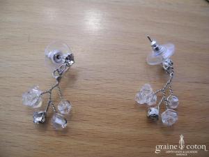Dejean - Parure (collier et boucles d'oreille) en toupies de verre Swarovski montées sur fil argenté