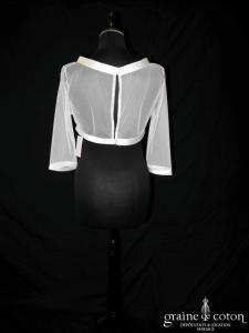 Bianco Evento - Boléro boutonné dans le dos, manches mi longues en tulle et biais de satin ivoire (E168)