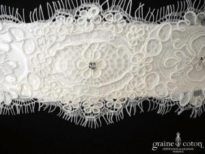 Bianco Evento - Ceinture en satin et dentelle avec quelques strass Swarovski (PA1)
