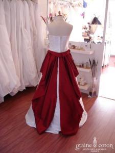 Les mariées d'Elodie - Robe 3 pièces en soie sauvage ivoire et rouge (soie sauvage)