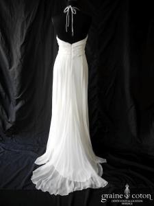 Aurélia Hoang - Création empire en crêpe de soie et mousseline drapée fluide (bretelles tour de cou coeur)