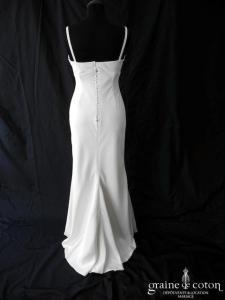 Model Novias - Création empire en satin ivoire (dos boutonné bretelles)