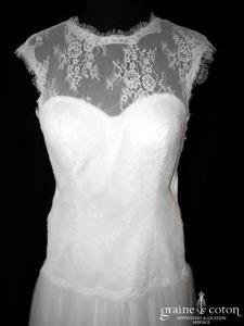 Création - Robe bohème en dentelle et tulle fluide (dos boutonné bretelles taille basse coeur)