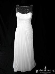 White One (Pronovias) - Numancia (mousseline fluide bretelles tulle coeur drapé)
