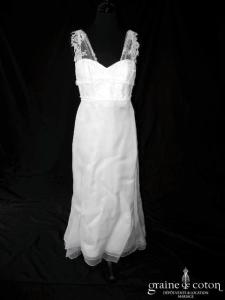 Anne Clicques - Création en organza de soie ivoire (dentelle bretelles empire fluide bohème)