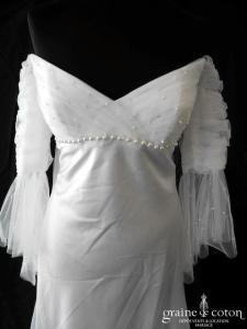 Pronuptia - Robe empire en tulle drapé et satin fluide avec manches (bretelles)