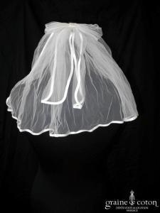 Mini voile en tulle ivoire bordé d'un biais de satin