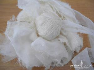 Headband fleur en mousseline plumetis à nouer, coudre ou piquer dans les cheveux