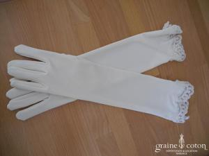 Gants longs en satin stretch finition dentelle