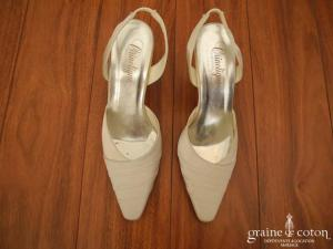 Crinoligne - Escarpins (chaussures) en satin ivoire