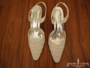 Crinoligne - Escarpins (chaussures) en satin blanc