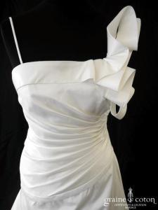 Hervé Mariage - Lumineuse (taffetas drapé bretelles asymétrique taille basse)