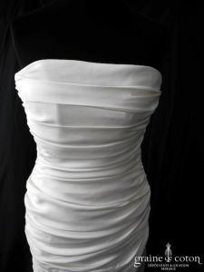 Maria Guardiola - Robe taille basse drapée en satin ivoire (sirène bustier)