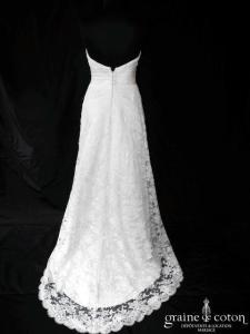 Pronuptia - Robe une pièce en satin et dentelle ivoire (bohème drapé coeur droite dos boutonné nu)