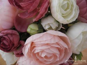 Petit bouquet de fleurs roses en tissu demoiselle d'honneur