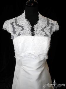 Pronuptia - Tellement Allure (blanche dentelle manches dos boutonné mikado manches empire bretelles)