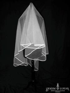 Pronuptia - Voile mi long en tulle blanc bordé d'un biais de satin