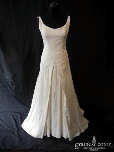 Béatrice Créations - Robe en soie sauvage brochée ivoire (bretelles dos nu dos-V boutonné fluide)