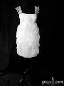 Création - Robe courte en organza ivoire (bretelles droite empire)