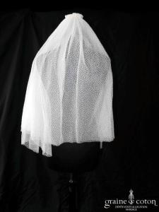 Suzanne Ermann - Voile court en tulle plumetis ivoire