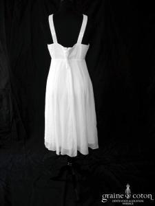 123 - Robe courte empire en mousseline de soie ivoire clair (bretelles fluide)
