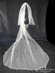 Catherine Varnier - Voile long de 3 mètres en tulle ivoire