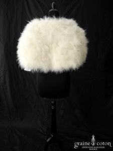 Bianco Evento - Boléro / étole / cape en plume duvet de marabout ivoire (E184 fourrure cygne)