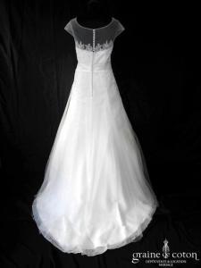 Marylise - Robe bohème taille haute top en tulle et dentelle (manches bretelles dos boutonné fluide)