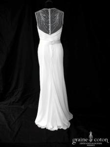 Pronovias - Tamesis (fluide drapé mousseline tulle dos boutonné bretelles manches sirène)
