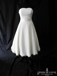 Bianco Evento - Peonia (mi longue courte coeur mousseline dentelle fluide bustier)