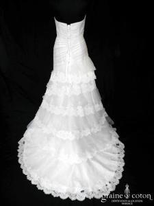 Pronuptia - Le roman d'amour (dentelle organza taille basse drapé sirène bohème champêtre laçage bustier)