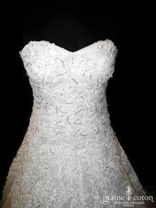 Mirella - Robe ivoire en tulle et dentelle (coeur laçage paillettes bustier)