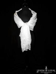 Création - Étole en mousseline de soie ivoire